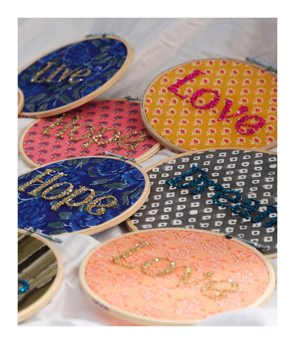 LOVE Embroidered Wall Art - Gold