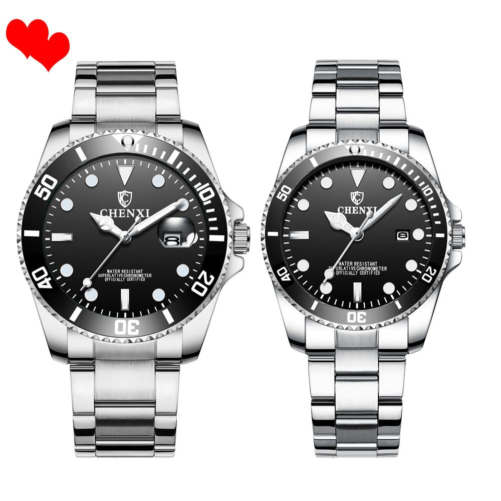 Holiday gift(Limited time offer)Luxury silver couple sports waterproof casual watch