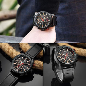 Leather strap men's watch 2019 new six-needle calendar waterproof watch