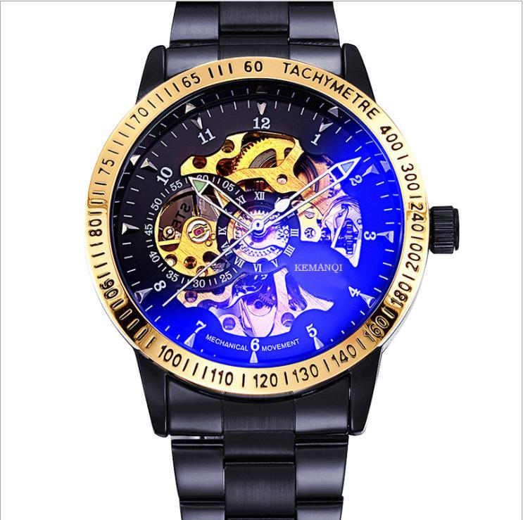 (sell at a low price)Men's Steampunk Automatic Mechanical Discoloration Glass Skeleton Stainless Steel Watch