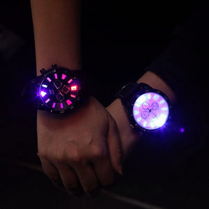 Fashion creative men lady light flash clock