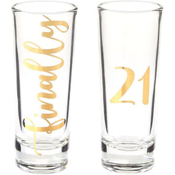 Novelty Shot Glasses for 21st Birthday Party, Finally 21 (2 oz, 2 Pack)