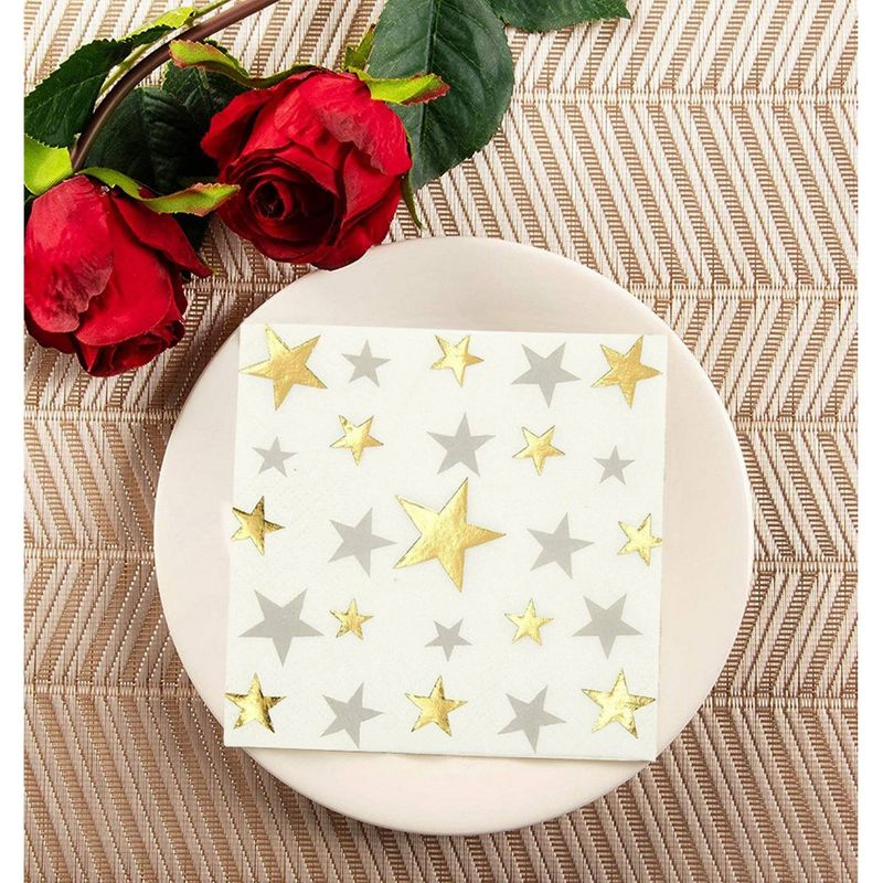 50 Pack Decorative Cocktail Napkins - Foil Star Disposable Paper Party Napkins