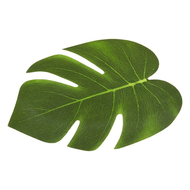 60 Pieces Artificial Palm Leaves - 8 Inches Tropical Monstera Leaf for Luau Hawaiian Birthday Party Decorations, Safari Jungle Baby Shower
