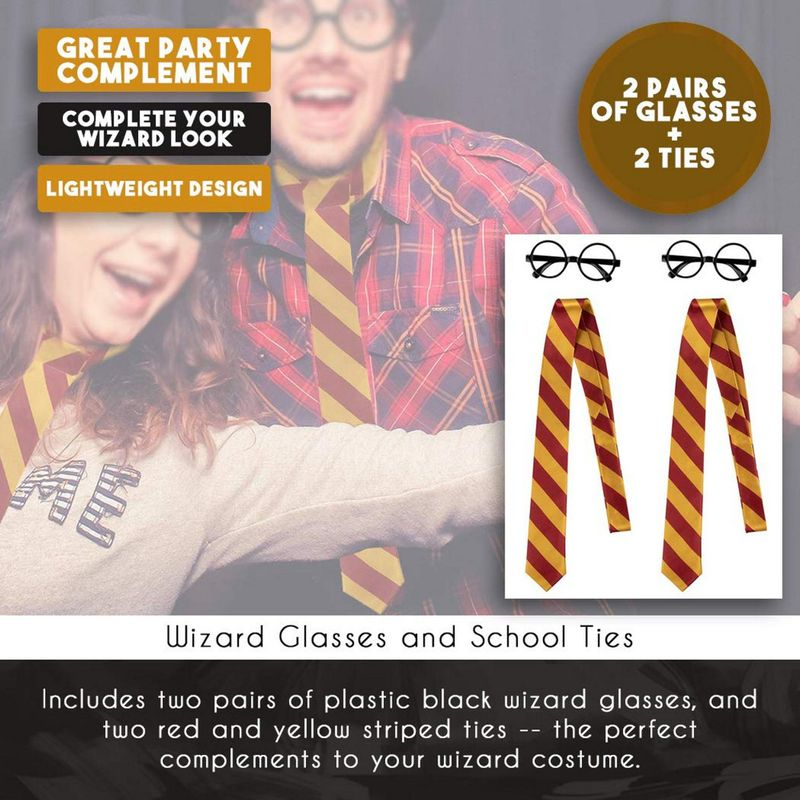 Wizard Glasses and Tie Costume Accessory Set for Halloween and Cosplay (4 Pieces)