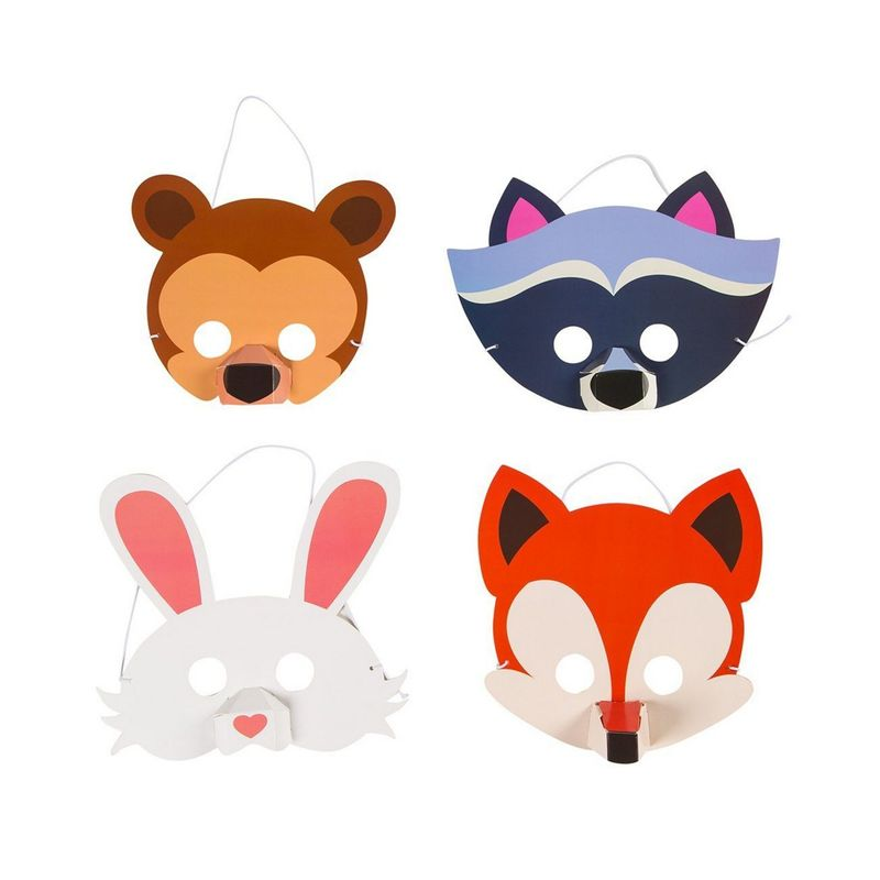 Animal Masks – 12-Pack Assorted Zoo Theme Woodland Party Supplies for Kids Birthday, Dress-Up Party Favors, DIY Photo-Booth Props