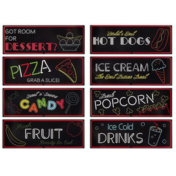 8-Pack Blue Panda Neon Food Signs Cutouts for Party (Paper) 17.5 x 6.25""