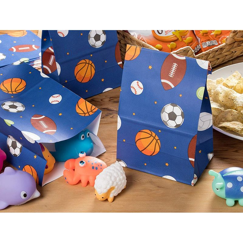 Party Treat Bags - 36-Pack Gift Bags, Sports Party Supplies, Paper Favor Bags, Recyclable Goodie Bags for Kids, Sports Themed Design, 5.2 x 8.7 x 3.3 Inches