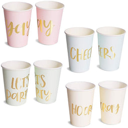 52-Pack Gold Foil & Pastel Paper Cups for Birthday and Bachelorette Party 12 Oz