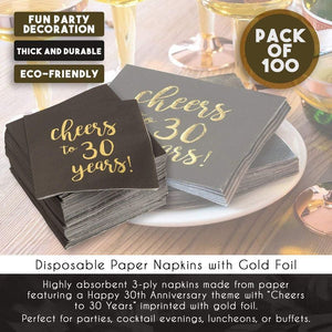 100 Gold Foil Paper Cocktail Napkins for Anniversary Party- Cheers to 30 Years!