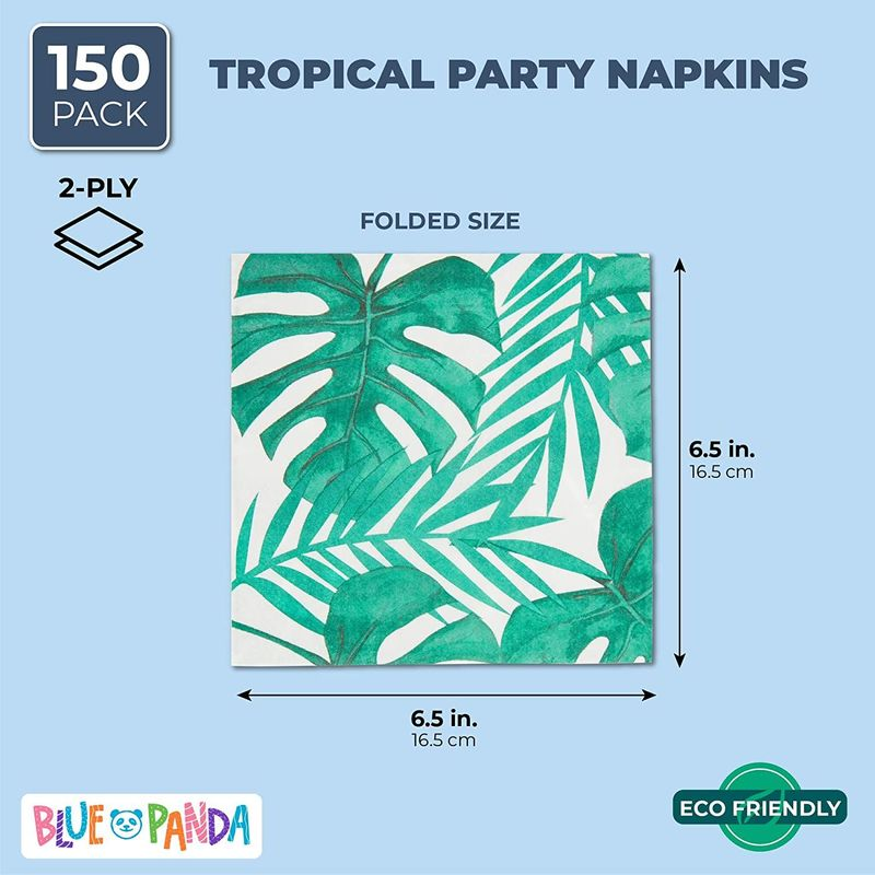 150-Pack Luncheon Paper Napkins Tea Party Supplies Tropical Palm Leaves Summer