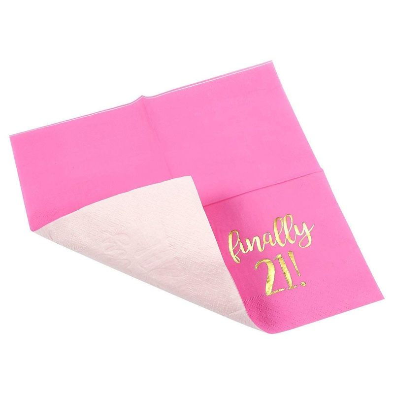 "50 Birthday Party Paper Cocktail Napkins for Girls - Finally 21, Hot Pink 5""x5"""