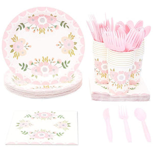 24 Set Vintage Floral Party Supplies Pack Knives Spoon Forks Plates Napkins Cups