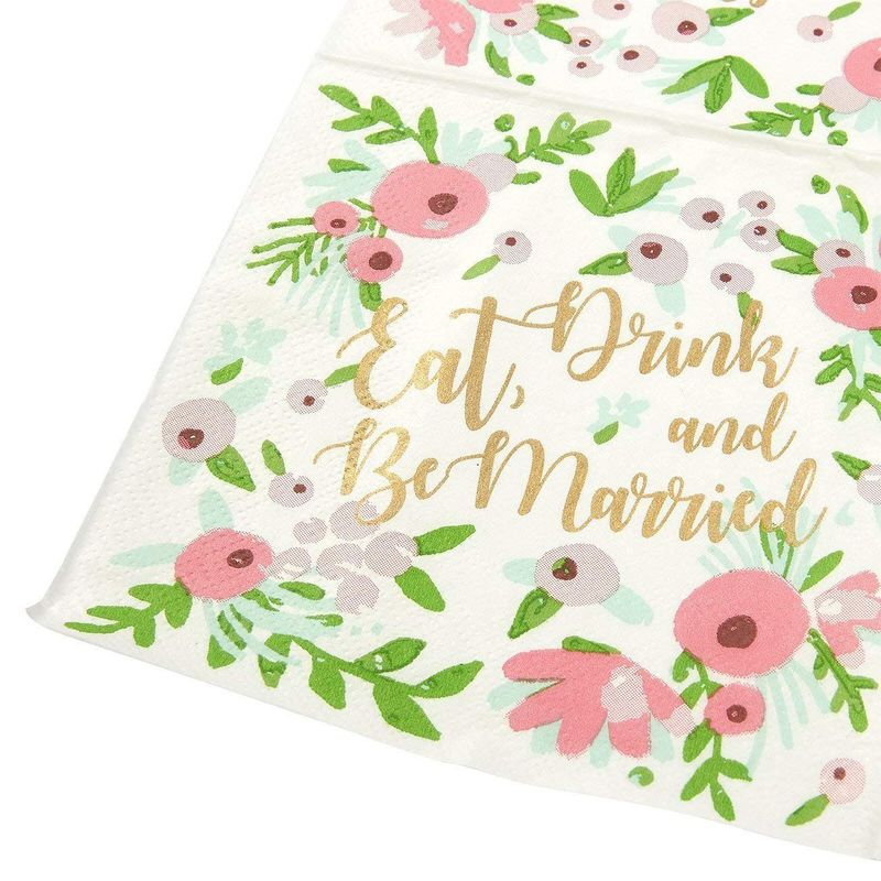 100 Bachelorette Party Bridal Shower Cocktail Napkins -Eat, Drink and Be Married