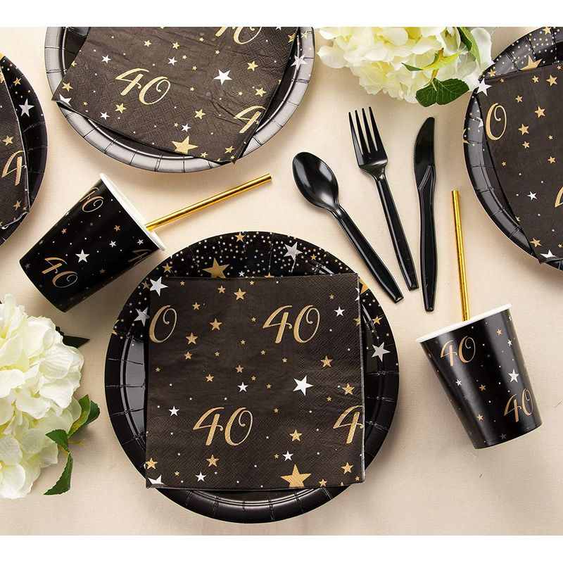 24 Set 40th Birthday Celebration Party Supply Plate Napkins Cup Knife Spoon Fork