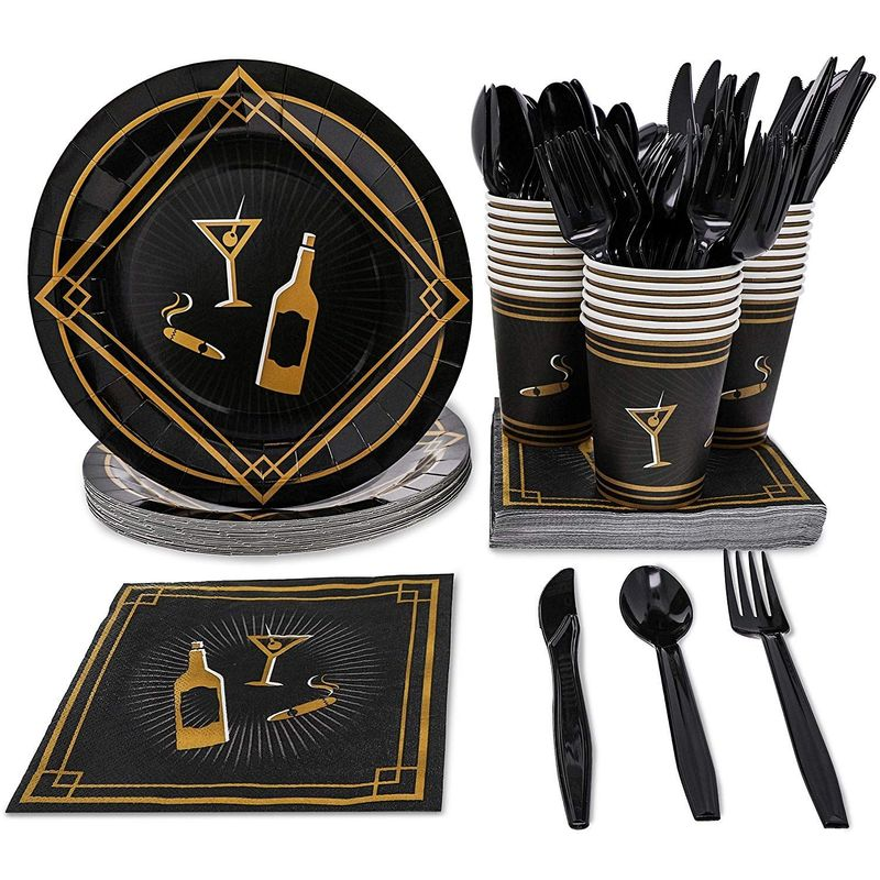 1920s Party Supplies – Serves 24 – Includes Plates, Knives, Spoons, Forks, Cups and Napkins Perfect for Roaring 20s Themed Birthdays