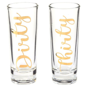 Dirty Thirty Shot Glasses Pair with Gold Foil Print for Celebrate 30s, Set of 2