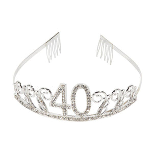 40th Birthday Rhinestone Queen Tiara with Forty and Fabulous Sash Decorations