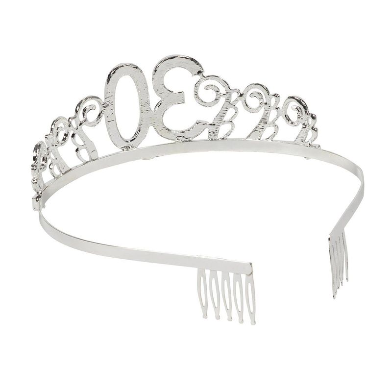 Rhinestone Queen Tiara with Dirty Thirty Satin Sash Decoration for 30th Birthday