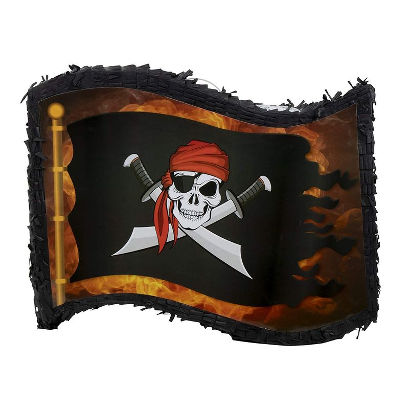 Juvale Small Pirate Flag Pinata, Kids Pirate Themed Birthday Party Supplies, 12 x 15.7 x 3 Inches