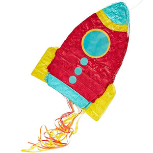Blue Panda Rocket Ship Pinata for Space Birthday Party Supplies (16.5 x 12.5 x 3 In)
