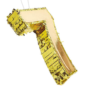 Small Number 7 Gold Foil Pinata, Seventh Birthday Party Supplies, 16 x 11 x 3""