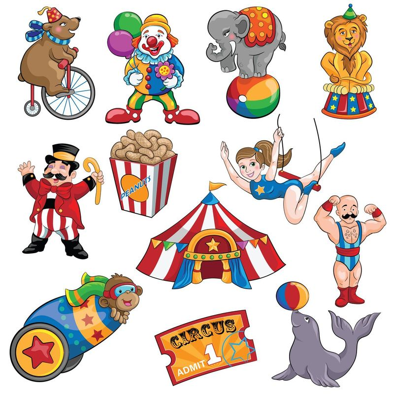 12-Piece Circus Theme Carnival Cutouts Birthday Party Colorful Print Decoration