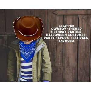 Cowboy Hat, 2-Piece, Kids Western Hat Blue Paisley Bandana Birthday Halloween