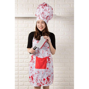 Halloween Bloody Butcher Costume - 3-Set Killer Dress Up, Apron Chef Hat Fake Cleaver, Unisex White