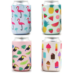 12 Insulated Neoprene Beer & Soda Sleeve Covers, Summer Tropical Fruit Flamingo