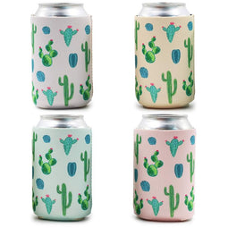 12-Pack 12oz Insulated Neoprene Can Cooler Sleeve Covers, Cactus Desert Beer