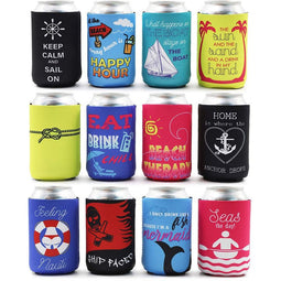 12-Pack Nautical Beach Theme Insulated 12oz Neoprene Beer & Soda Sleeve Covers
