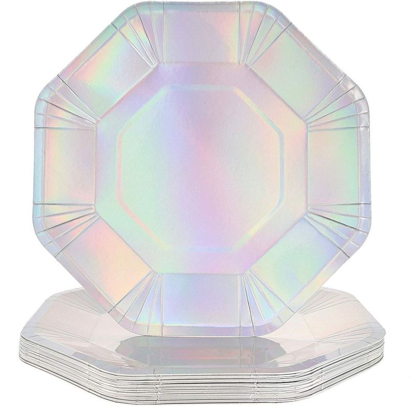 Juvale Octagon Paper Party Plates, Holographic, 9 Inches (24 Pack)
