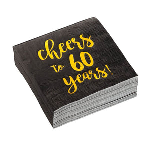50 Black Cocktail Napkin for Birthday Anniversary -Gold Foil Cheers to 60 Years!