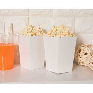 100 Popcorn Favor Boxes 20oz Mini Paper Containers, Plain White 3.3 x 5.5 x 3.3