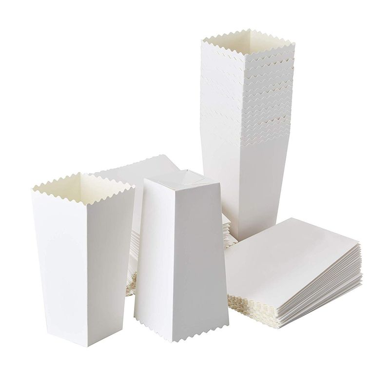 100 Popcorn Favor Boxes 46oz Paper Containers, White, 7.7 x 3.7 x 3.7 Inches