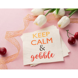 Keep Calm White Paper Napkins for Thanksgiving Party (5 x 5 In, 100 Pack)