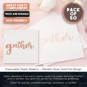 Cocktail Napkins - 50-Pack Disposable Paper Napkins, Autumn Thanksgiving Dinner Party Supplies, 3-Ply, Gather in Metallic Rose Gold Foil, White, Unfolded 10 x 10 Inches, Folded 5 x 5 Inches