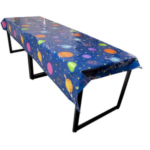 Outer Space Party Tablecloth - 3-Pack Disposable Plastic Rectangular Table Covers - Solar Planet Themed Party Supplies for Kids Birthday Decorations, Solar System Design, 54 x 108 Inches