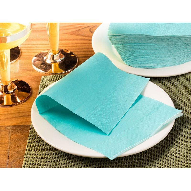 200-Pack 2-Ply Disposable Paper Cocktail Napkins, Teal Green