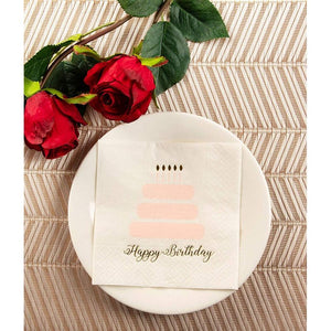 100-Pack Disposable Cocktail Napkins Happy Birthday Cake with Gold Foil Print 5""