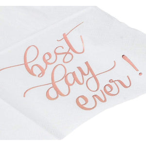 "Blue Panda ""Best Day Ever"" Cocktail Napkins (50 Pack) 5 x 5 Inches, Rose Gold"