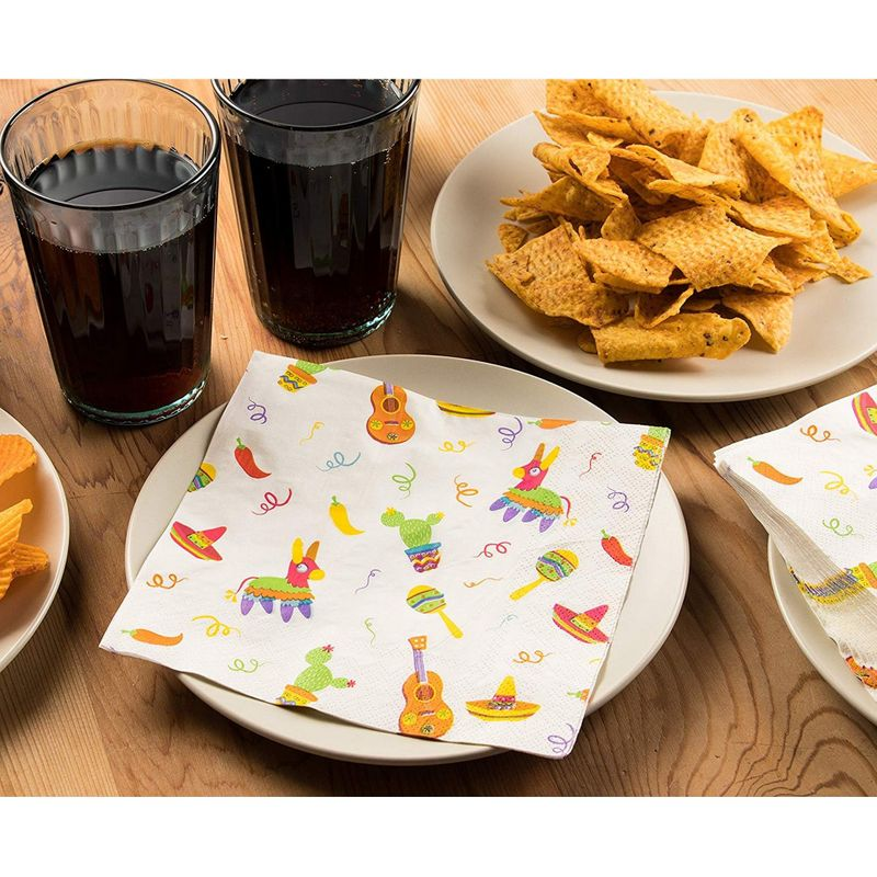 White Paper Dinner Napkins for Cinco de Mayo, Mexican Fiesta Party (6.5 In, 150 Pack)