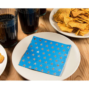 Cocktail Napkins - 50-Pack Luncheon Napkins, Disposable Paper Napkins Patriotic Party Supplies, 3-Ply, Metallic Silver Foil Stars Design, Unfolded 10 x 10 inches, Folded 5 x 5 inches