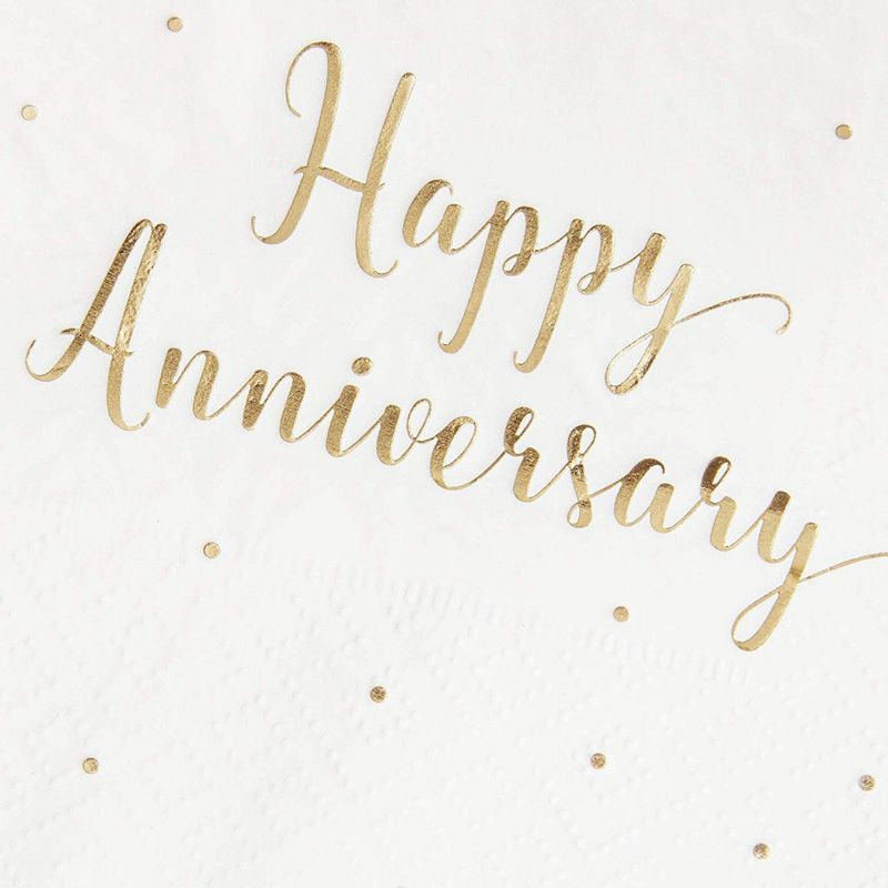 50-Pack Cocktail Napkins - Happy Anniversary Printed in Gold Foil Confetti - Disposable Paper Party Napkins - Perfect for Anniversary Celebrations - 5 x 5 inches Folded
