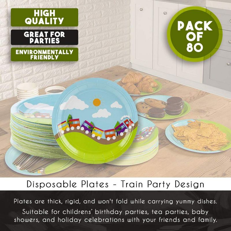 Disposable Plates - 80-Count Paper Plates, Boy Party Supplies for Appetizer, Lunch, Dinner, and Dessert, Kids Birthdays, 9 x 9 Inches