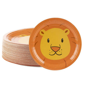 "80-Pack Disposable Paper Plates, Lion Party Supplies for Dinner, 9"" x 9"""