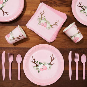 Rustic Floral Party Bundle, Includes Plates, Napkins, Cups, and Cutlery (24 Guests,144 Pieces)