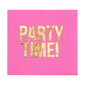 Blue Panda Party Time Napkins (Pink, 50 Pack)