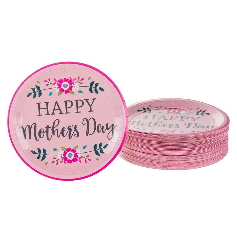 Floral Paper Plates for Mother's Day (9 In, Pink,  80 Pack)